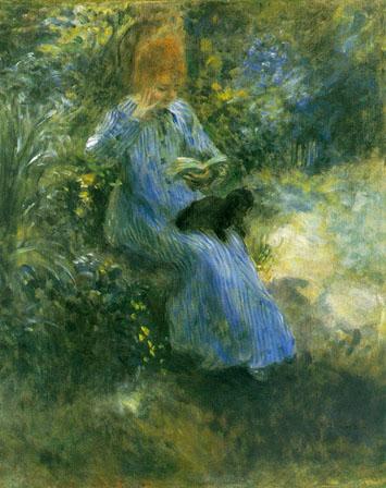 Renoir, Jeune fille lisant dans un jardin, 1874