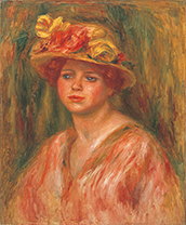Woman in a Blouse and a Hat with Flowers<br/>(Buste de femme en corsage et chapeau garni de fleurs)Pierre-August Renoir