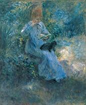 「庭で犬を膝に抱いて読書する少女」ピエール=オーギュスト・ルノワール(1841-1919)