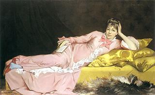 ジョルジュ・ルフェーヴル「青いストッキングをはいた女流詩人」(1870頃)