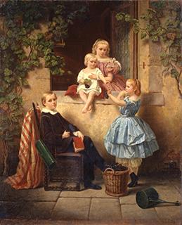フィリップ・リンド「窓辺の子供達」(1859)