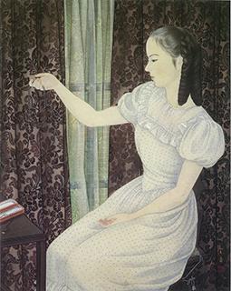 根上富治「ネックレスを持つ少女」(1949)