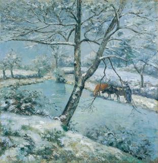 カミーユ・ピサロ「モンフーコーの冬の池、雪の効果」(1875)