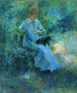 ピエール=オーギュスト・ルノワール「庭で犬を膝に抱いて読書する少女」(1974年)