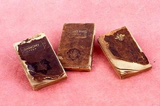 金子みすゞ 遺稿が記された3冊の手帳 / 左から『美しい町』『空のかあさま』『さみしい王女』 [金子みすゞ著作保存会提供]