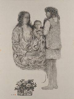 髙山辰雄《聖家族 XXVI》 紙本・黒群緑 1993年