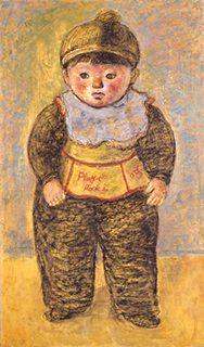 椿 貞雄《童子立像 (明比古立像) 》 板・油彩、パステル 1957年