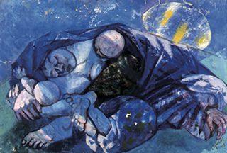 近岡善次郎《ねむる農婦》 キャンヴァス・油彩 1958年