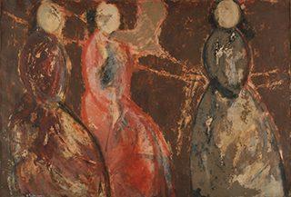桜井浜江《赤い風景》 キャンヴァス・油彩 1940年