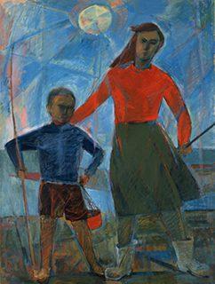 土田文雄《海浜の子ども》 キャンヴァス・油彩 1958年