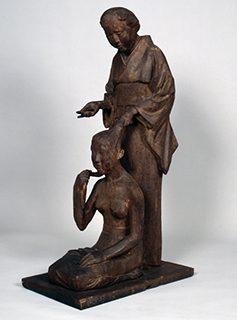 新海竹蔵《結髪》 木彫 1936年
