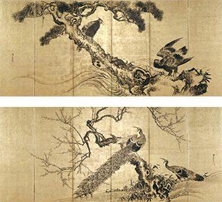 熊代熊斐《松鷲梅孔雀図屏風》左隻 (画像上)、右隻 (画像下) ※山形県指定有形文化財。後期展示 (1/4-27)