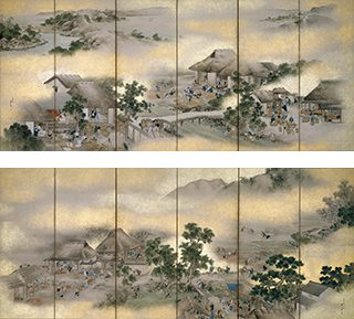 横山華山《紅花屏風》左隻 (画像上、1825[文政8])、右隻 (画像下、1823[文政6]) ※山形県指定有形文化財。前期展示 (12/6-27)