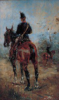 アンリ・トゥールーズ・ロートレック 17歳 《馬上の二人の兵士》1881年 板、油彩