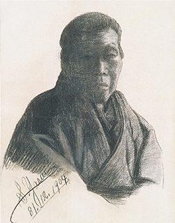 安井曾太郎 16歳 《肖像(老婆)》1904年 紙、コンテ