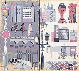 田中一光 19歳 《ヨーロッパの風景》1949年 紙、泥絵具 © Ikko Tanaka 1949 / licensed by DNPartcom