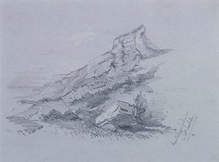 クロード・モネ 17歳 《ノルマンディーの断崖》1857年 紙、鉛筆