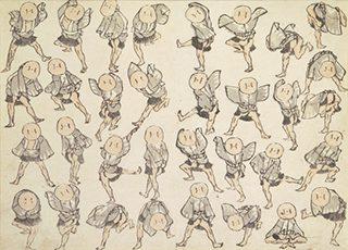 葛飾北斎《北斎漫画 三篇 雀踊り》1815年(文化12)