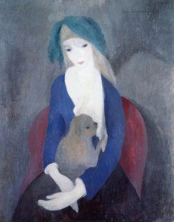 マリー・ローランサン《犬を抱く少女》 1921年 服部コレクション