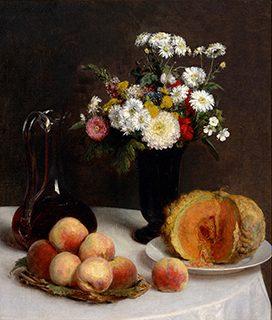 アンリ・ファンタン=ラトゥール《花と果物、ワイン容れのある静物》1865年、油彩/カンヴァス、国立西洋美術館