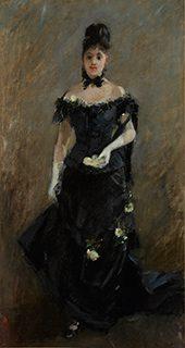 ベルト・モリゾ《黒いドレスの女性(観劇の前)》1875年、油彩/カンヴァス、国立西洋美術館
